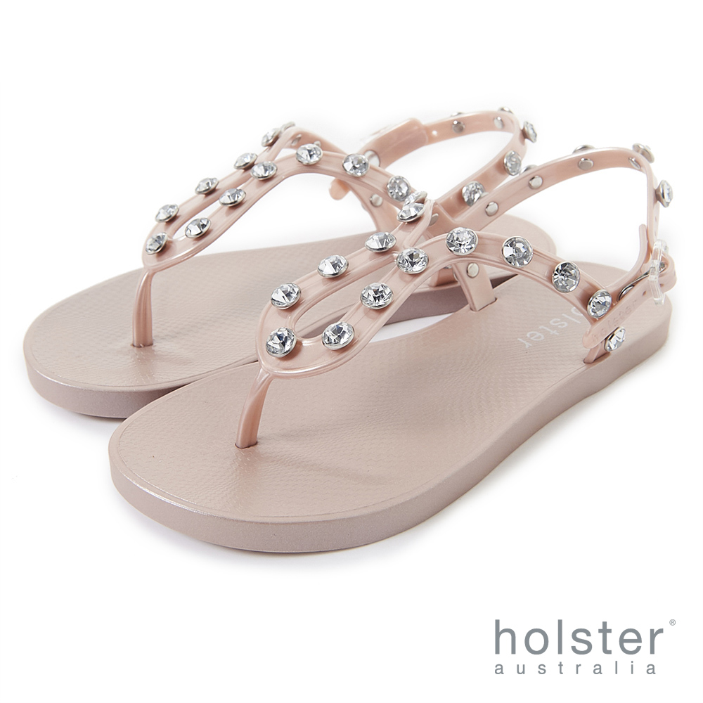 HOLSTER  果凍水鑽U字帶涼鞋-粉金色