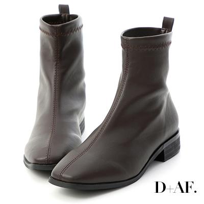 D+AF 定番焦點.柔軟皮革車線方頭襪靴*咖