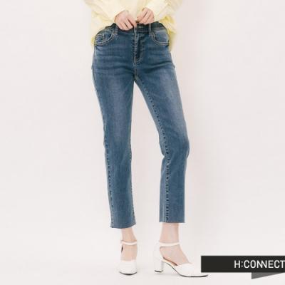 H:CONNECT 韓國品牌 女裝 -不收邊顯瘦九分牛仔褲-藍