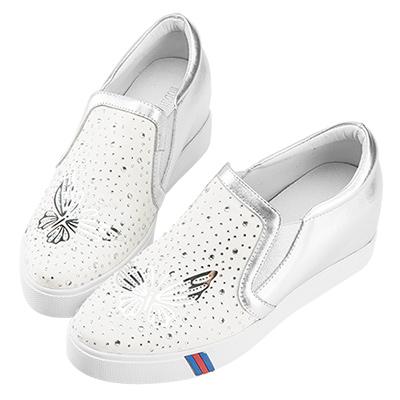 Robinlo & Co.絢爛蝴蝶真皮內增高休閒鞋 銀