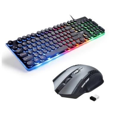 E-books 炫光打字機靜音有線鍵盤+六鍵式省電無線滑鼠 (Z6+M34)