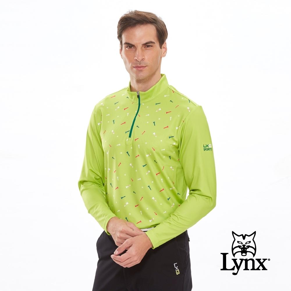 【Lynx Golf】男款吸汗速乾滿版球釘印刷長袖立領POLO衫-淺綠色