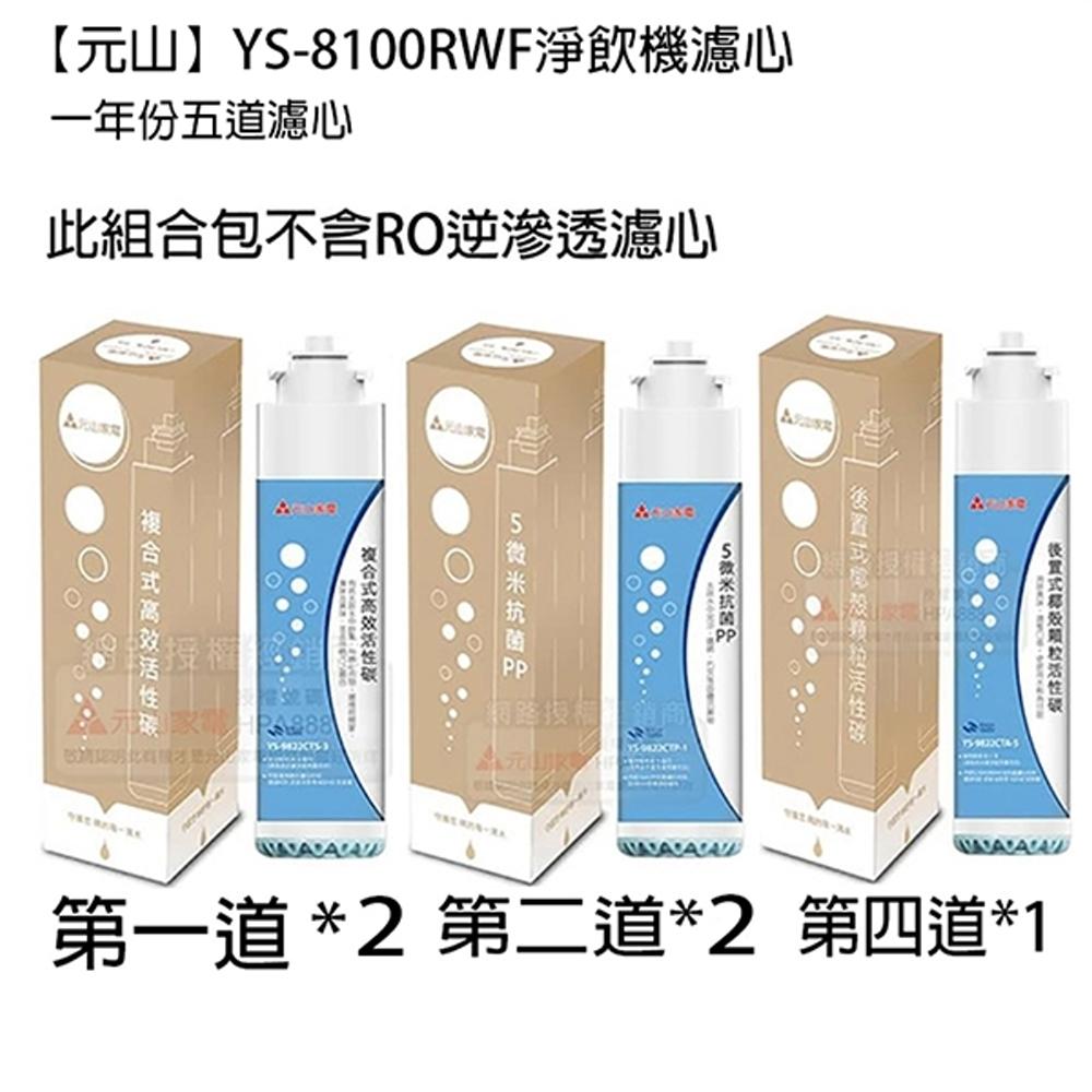 元山淨飲機(YS-8100RWF)組合1年份濾心(5道)