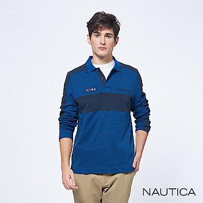 Nautica撞色細條紋修身長袖POLO衫-靛藍