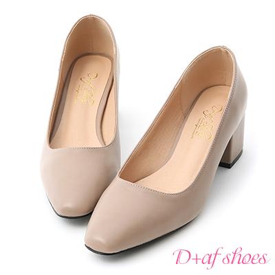 D+AF 知性色調.素面小方頭中跟鞋*灰