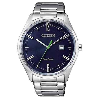 CITIZEN 星辰 Eco-Drive 光動能時尚手錶-藍/42mm