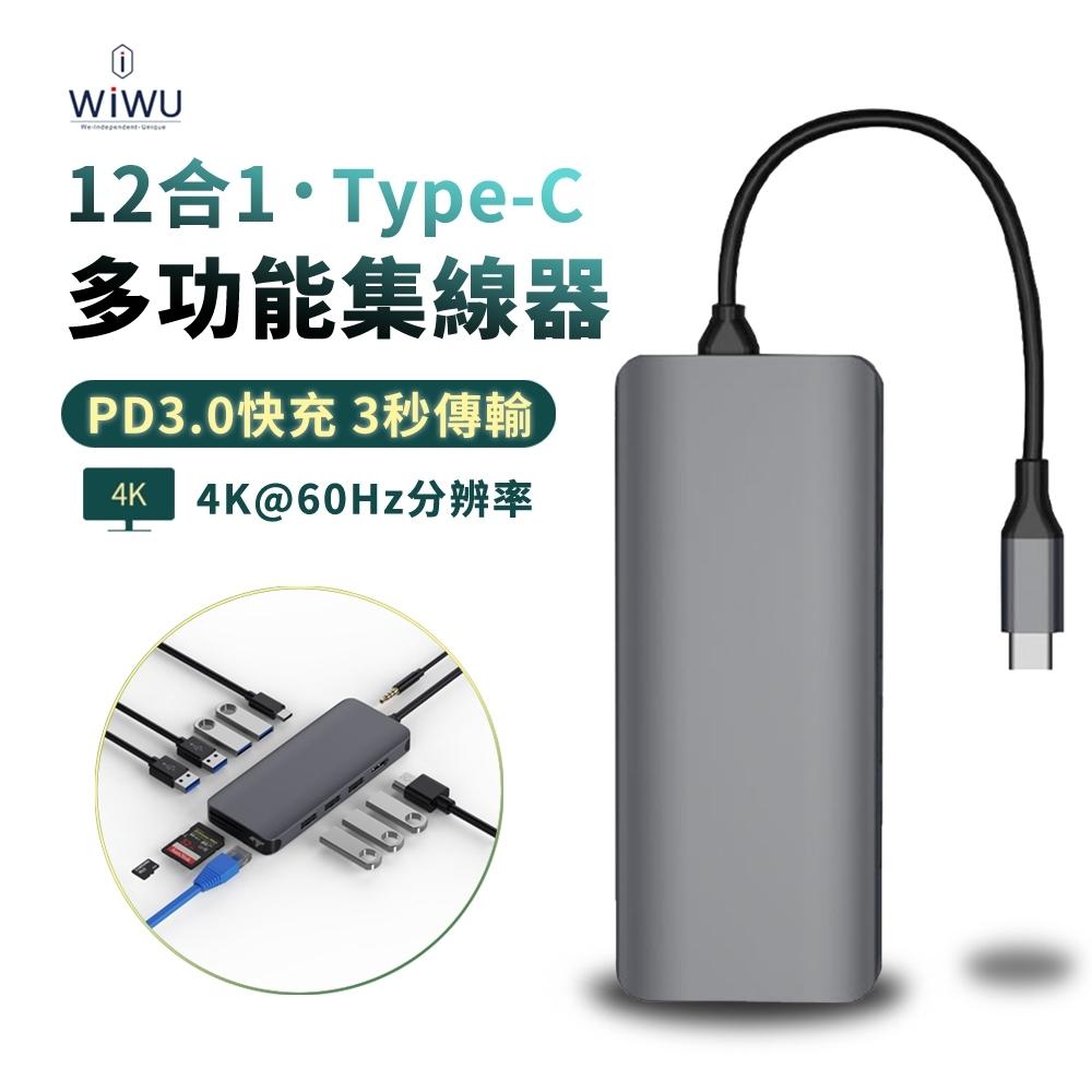 WIWU 12合1 Type-C多功能HUB轉接器 USB3.0充電傳輸集線器 HDMI擴展塢 Mac轉接頭