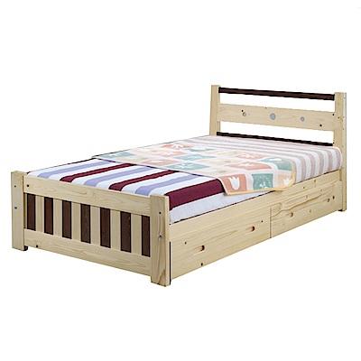 綠活居 約斯特3.5尺單人抽屜床台(二抽床底+不含床墊)-105x195x81cm-免組