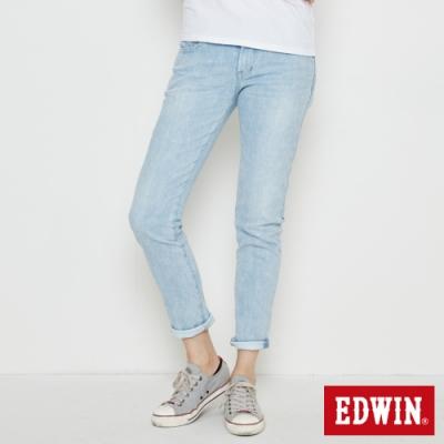 EDWIN EDGE LINE COOL 涼感 窄直筒牛仔褲-女-重漂藍