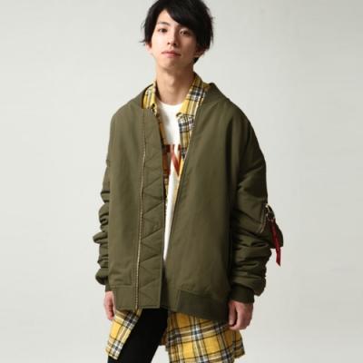 飛行員外套軍裝外套MA-1寬版夾克(5色) ZIP日本男裝