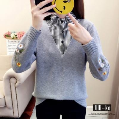 JILLI-KO 混色翻領式假兩件針織上衣- 杏/灰