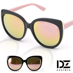 DZ 微貓眼拼色 防曬抗UV太陽眼鏡墨鏡(粉腳金粉膜)