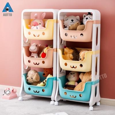 [限時下殺] AOTTO大容量馬卡龍微笑兒童玩具推車 三層收納儲物架(收納 儲物 置物)