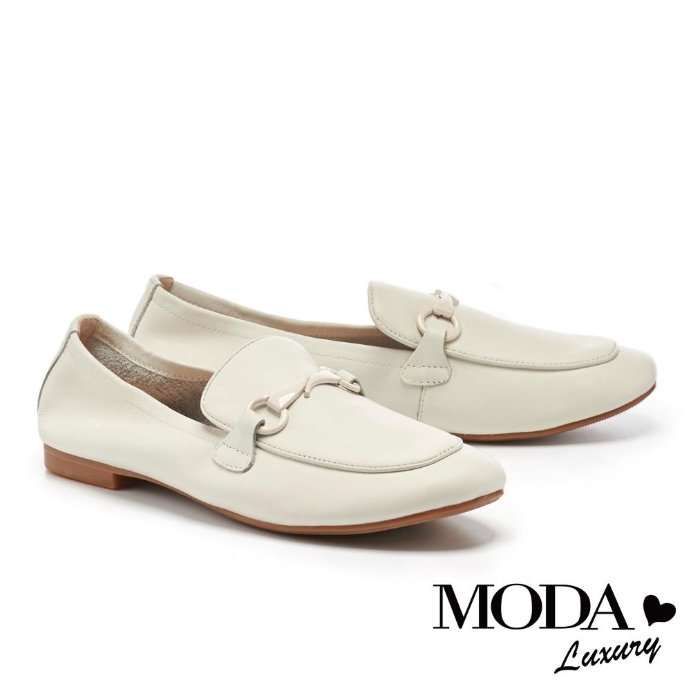 低跟鞋 MODA Luxury 極簡主義馬銜釦全真皮抓皺樂福低跟鞋-白