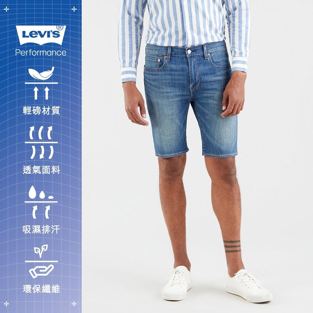 Levis 男款 上寬下窄 405膝上牛仔短褲 / Cool Jeasn輕彈有型 / 深藍刷白