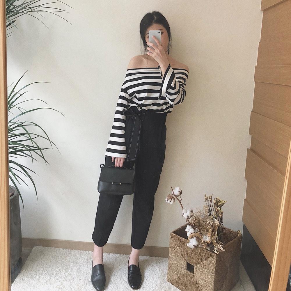 闆娘自留款/質感綁帶九分西裝褲-TMH