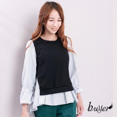 白鵝buyer 襯衫綁帶背心兩件式造型上衣-黑色