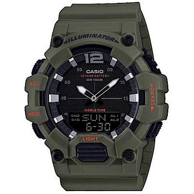 CASIO 經典再現10年電力雙顯電子錶(HDC-700-3A3)卡其綠/48.8mm