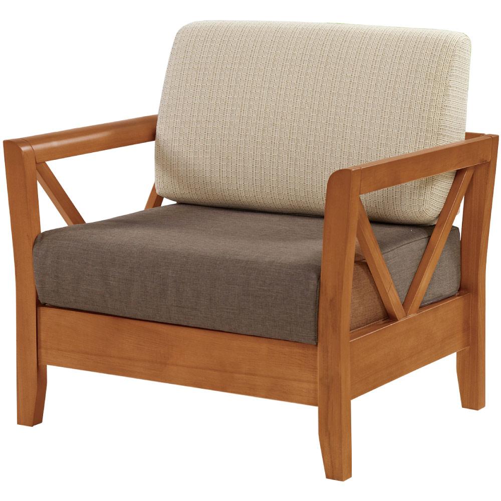 綠活居 尼西現代風亞麻布實木單人座沙發椅-90x76x90cm免組