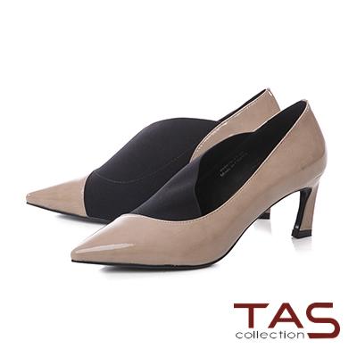 TAS素面牛漆皮彈力布拼接尖頭高跟鞋-氣質米