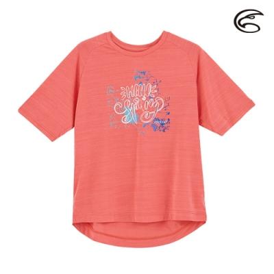 ADISI 女輕薄棉感圖騰圓領短袖排汗衣AL2011113 (S-2XL) 輕珊瑚