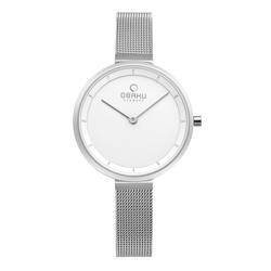 OBAKU 現代極簡經典女性腕錶-銀-V225LXCIMC-32mm