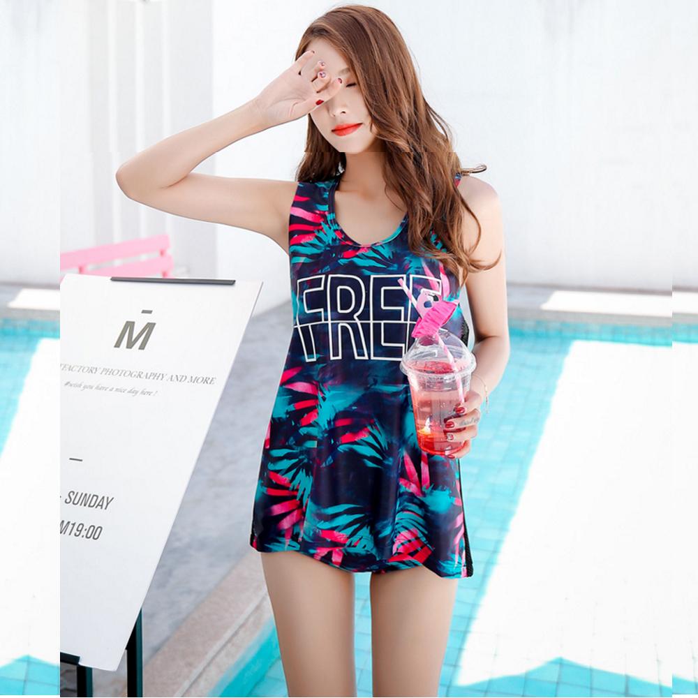 Biki比基尼妮泳衣   虹彩後露背泳裝三件式泳衣(M-XL)