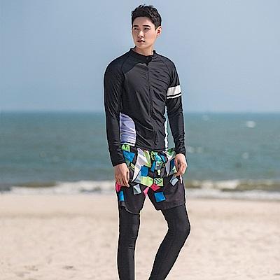 Biki比基尼妮泳衣 浮潛衣黑色沖浪服防晒拉鍊外套長袖泳衣(男M-XXL)