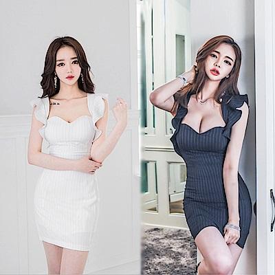 DABI 韓國風方領波浪邊收腰條紋時尚包臀性感無袖洋裝