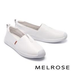 休閒鞋 MELROSE 清新簡約純色全真皮厚底休閒鞋-白