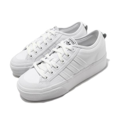 adidas 休閒鞋 Nizza Platform 復古 女鞋 愛迪達 三葉草 厚底 皮革鞋面 穿搭 白 黑 FW0265