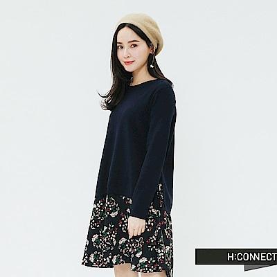 H:CONNECT 韓國品牌 女裝-側綁結假兩件式洋裝-藍