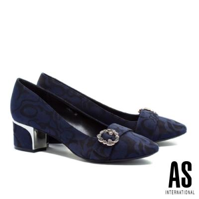 高跟鞋 AS 低調奢華灰鑽圓釦緹花布方頭粗高跟鞋-藍