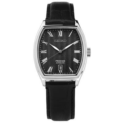SEIKO 精工 PRESAGE 機械錶自動上鍊藍寶石水晶玻璃 牛皮手錶-黑色/37mm