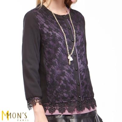 MONS 鏤空蕾絲拼接開襟外套/罩衫