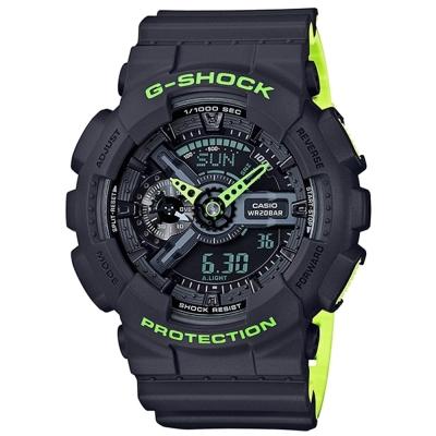 G-SHOCK時尚運動風潮再起螢光元素概念錶(GA-110LN-8A)灰色X瑩光綠51mm