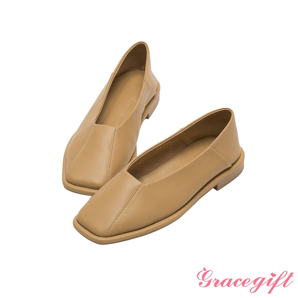 Grace gift X玄玄-聯名摩天輪全真皮方頭平底鞋 奶茶駝