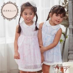 Annys安妮公主-小天使邱比特的禮物-娃娃圓領蝴蝶結花紋背心洋裝*8548粉