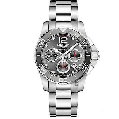 LONGINES 浪琴 深海征服者浪鬼陶瓷計時潛水機械錶-灰x銀/41mm