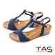 TAS編織T字繫帶楔型涼鞋-深海藍 product thumbnail 1
