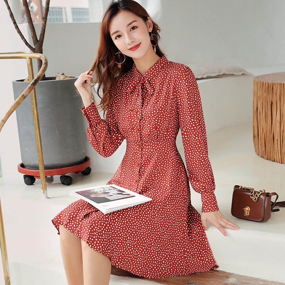 初色  收腰顯瘦A字波點長袖雪紡連衣裙-磚紅色-(M-XL可選)