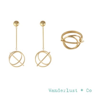 Wanderlust+Co 官方精緻禮盒 幾何星軌垂墜耳環+星軌鍍18K金戒指