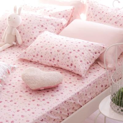 OLIVIA  花香 粉 標準單人床包美式枕套兩件組 200織精梳純棉 台灣製