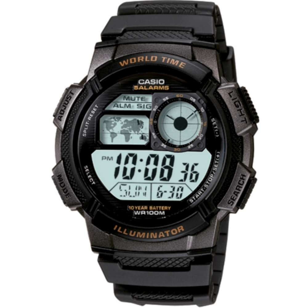 CASIO 雷霆世界戰士運動電子錶-銀灰框(AE-1000W-1B)/43mm