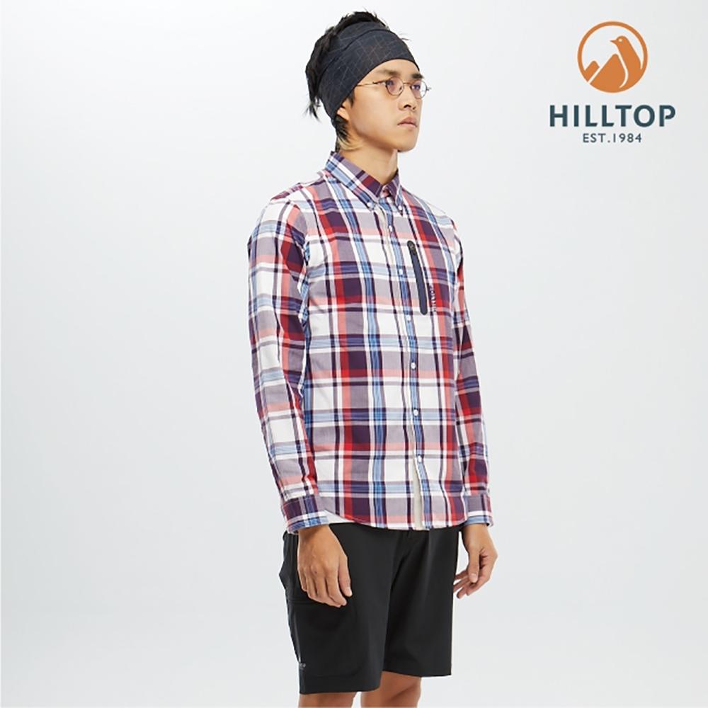 【hilltop山頂鳥】男款吸濕快乾抗UV長袖襯衫S05M66白底紅紫格