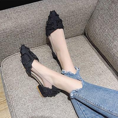 KEITH-WILL時尚鞋館 韓時尚漏泄春光女神款粗跟鞋-黑色