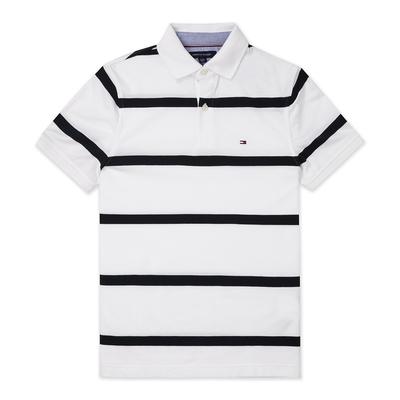 TOMMY 經典刺繡Logo短袖Polo衫-白深藍條紋色