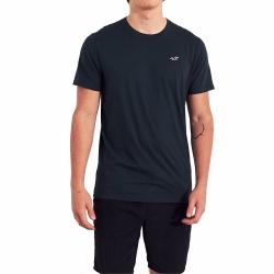 海鷗 Hollister 經典圓領刺繡海鷗素面短袖T恤(BONL)-深藍色