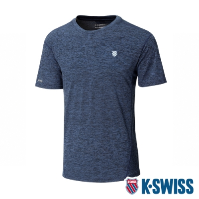 K-SWISS Small Neon Logo Tee排汗T恤-男-藍