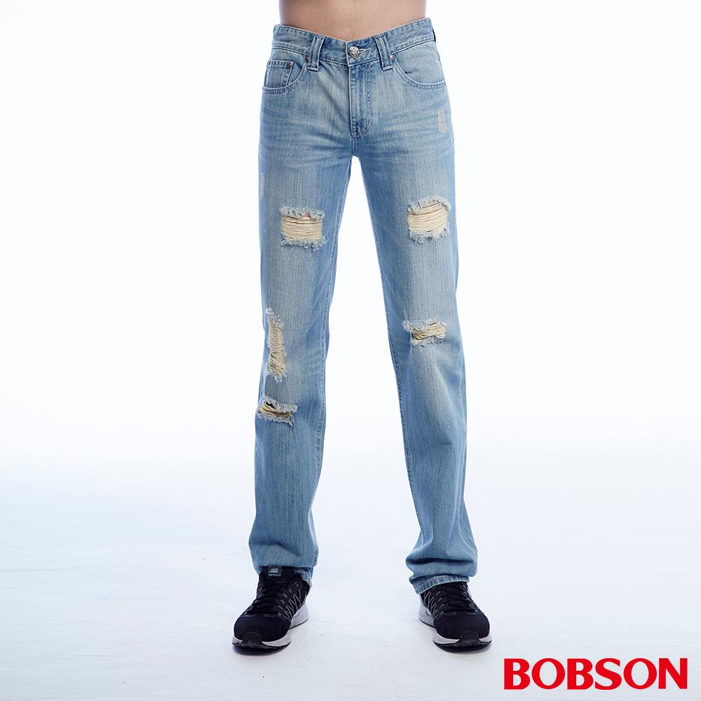 BOBSON 男款低腰刷破淺藍直筒褲